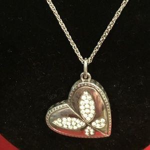 Rare Brighton Sliver Heart/Oval Necklace